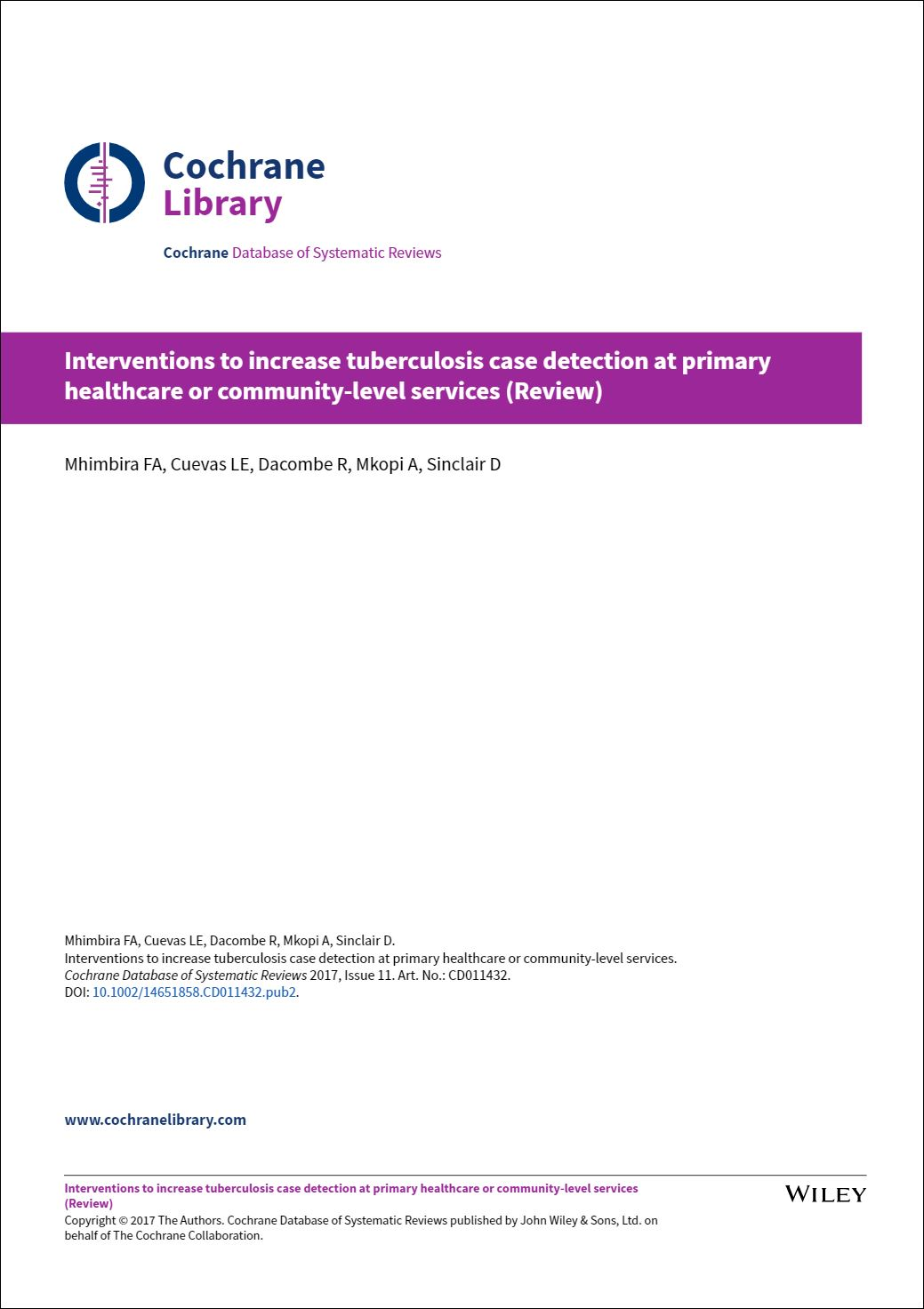 Interventions to increase tuberculosis case detection at primary healthcare or community‐level services