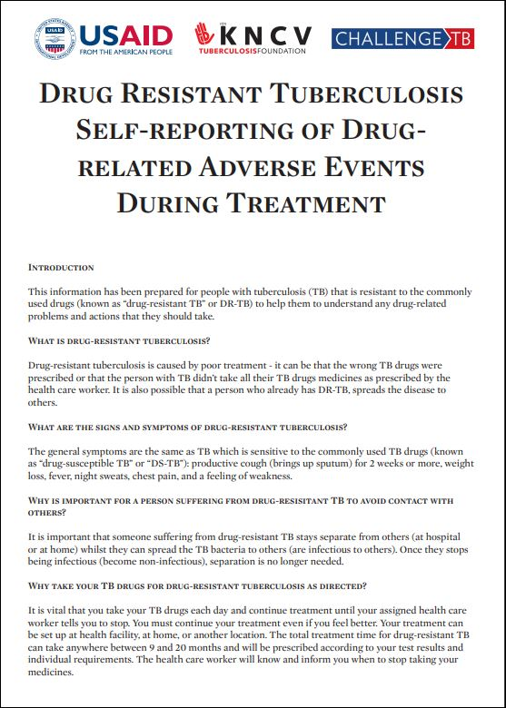 Drug-Resistant TB Self-Reporting of Drug-Related Adverse Events During Treatment