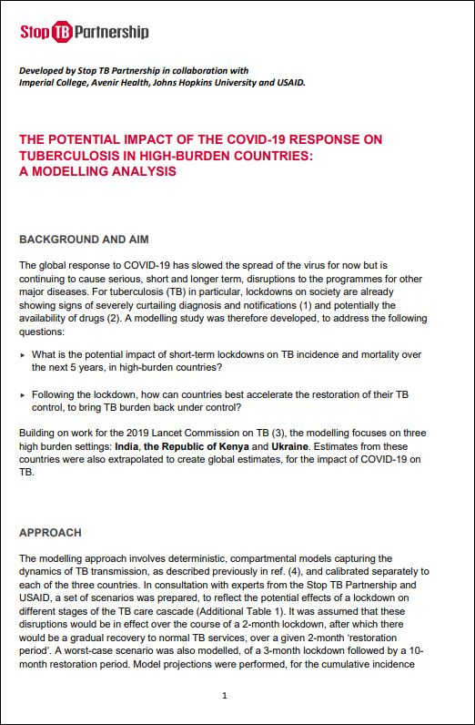 The Potential Impact of the COVID-19 Response on Tuberculosis in High-Burden Countries: A Modelling Analysis