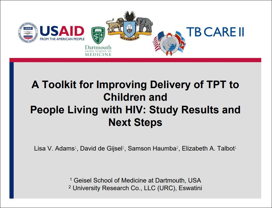 A Toolkit for Improving Delivery of TPT to Children and People Living with HIV: Study Results and Next Steps