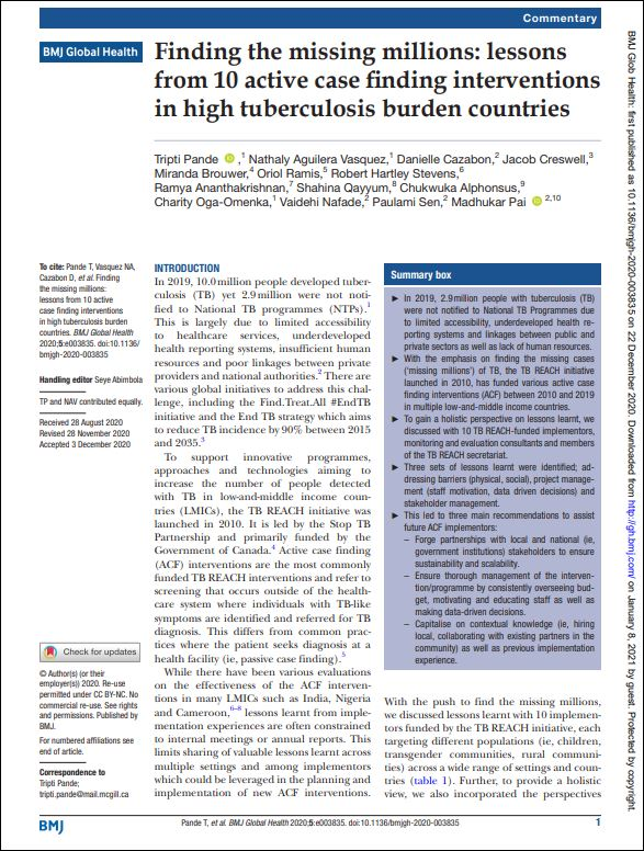 Finding the missing millions: lessons from 10 active case finding interventions in high tuberculosis burden countries